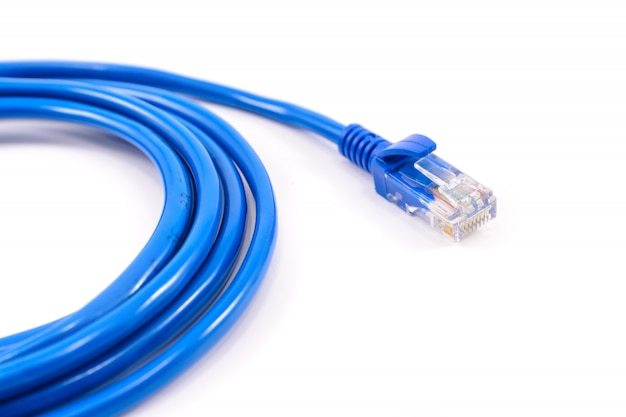 Cabo de rede azul Foto Premium