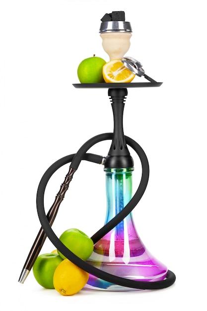 Cachimbo de água com frutas isolado no branco Foto Premium