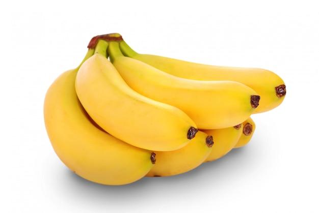 Cacho de bananas no fundo branco Foto Premium