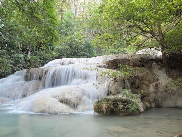 Cachoeira com água fluindo ao redor Foto Premium