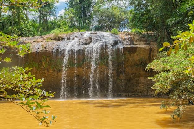 Cachoeira tropical floresta selvagem em dia de sol Foto Premium