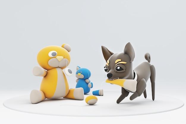 Cachorro chihuhua brincando com brinquedos Foto Premium