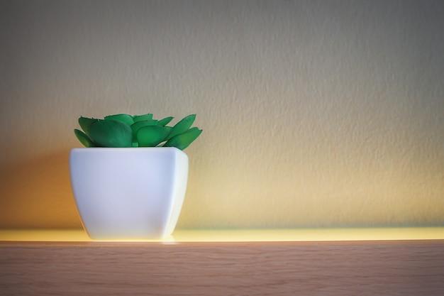 Cacto que está em uma panela quadrada branca no chão de um piso de madeira lindamente decorado. Foto Premium