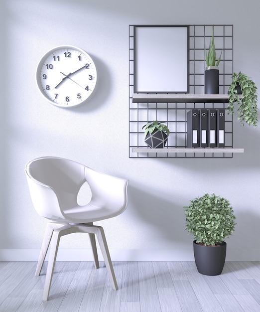 Cadeira branca e escritório de decoração no fundo do quarto branco Foto Premium