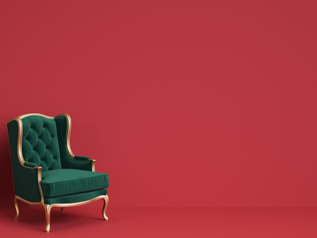 Cadeira clássica em verde esmeralda e ouro com espaço de cópia Foto Premium