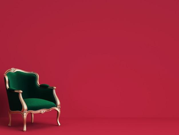 Cadeira clássica em verde esmeralda e ouro na parede vermelha com espaço de cópia Foto Premium