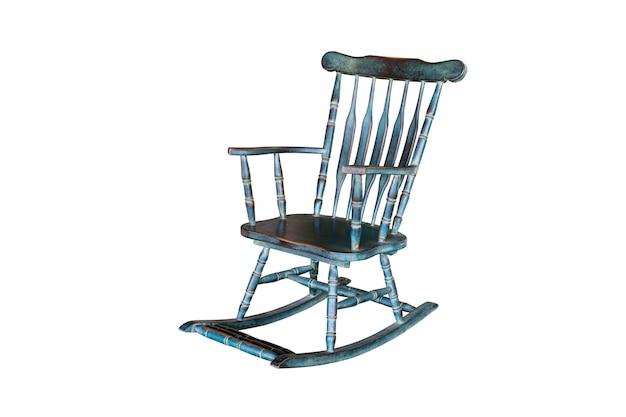 Cadeira de balanço verde isolada no branco com trajeto de grampeamento. Foto Premium