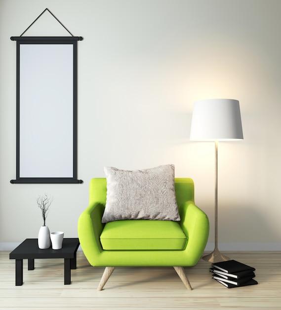 Cadeira de braço verde mock-se no estilo japonês moderno quarto zen Foto Premium
