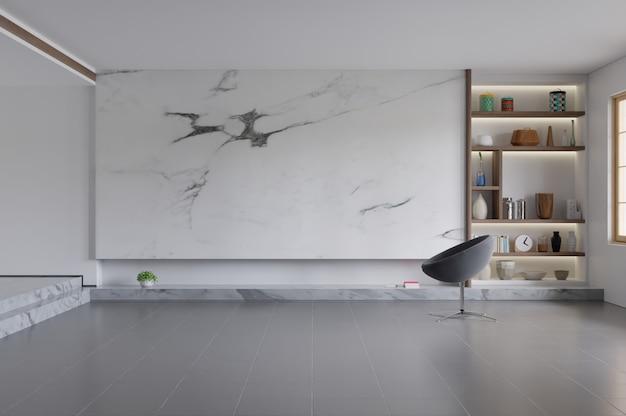 Cadeira interior da sala de visitas moderna, tevê no armário na sala de visitas moderna com lâmpada, tabela, flor e planta no fundo da parede de mármore. Foto Premium