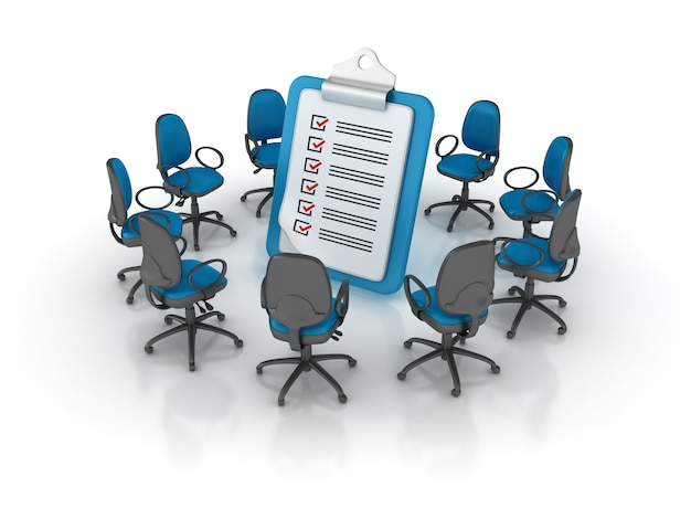 Cadeiras de escritório em torno da área de transferência da lista de verificação Foto Premium