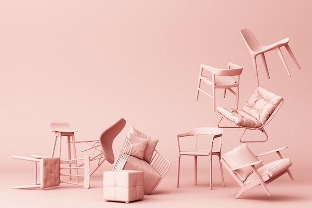 Cadeiras pastel rosa em fundo rosa vazio conceito de minimalismo e instalação arte renderização em 3d Foto Premium