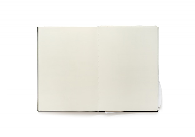 Caderno aberto da placa do vintage isolado no fundo branco. Foto Premium