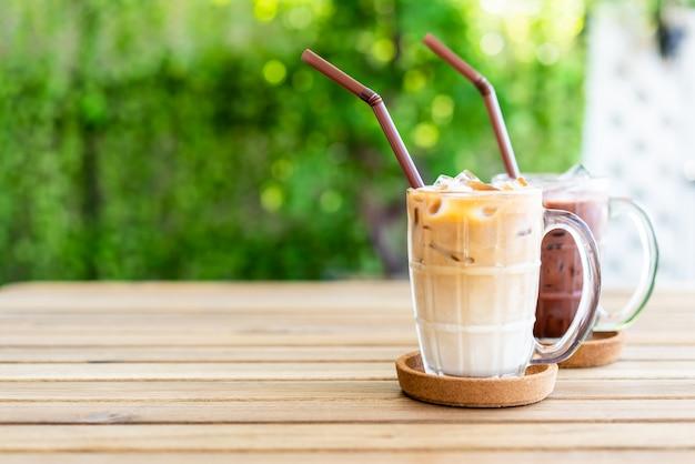 Café com leite gelado com chocolate gelado Foto Premium