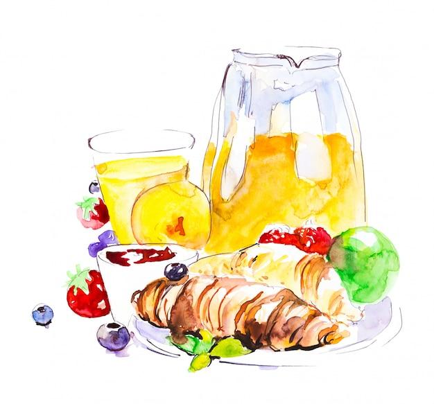 Café da manhã de croissants de chocolate, chá, frutas, bagas, maçã, suco de laranja. aquarela pintada à mão Foto Premium