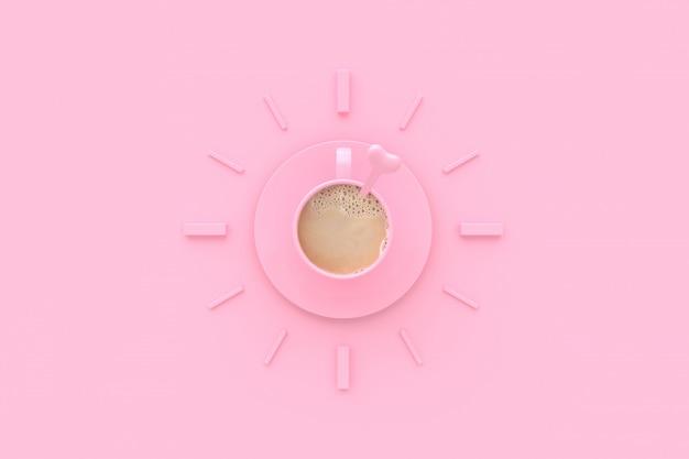 Café no copo cor-de-rosa criativo pelo tempo. Foto Premium