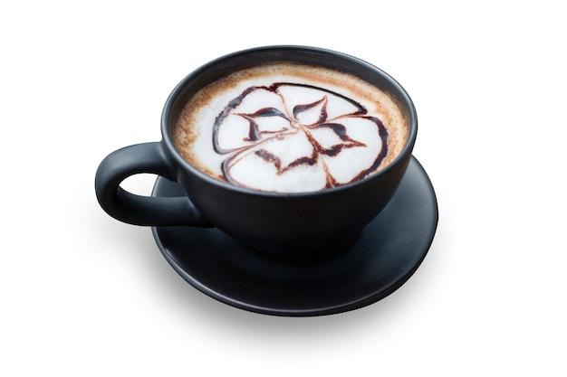 Café quente com espuma de leite art Foto Premium