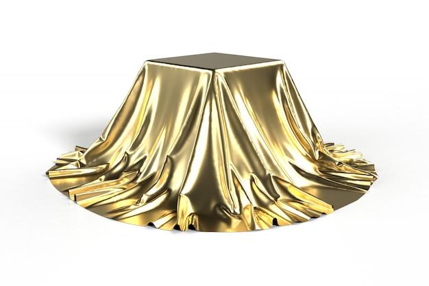 Caixa coberta com tecido dourado Foto Premium