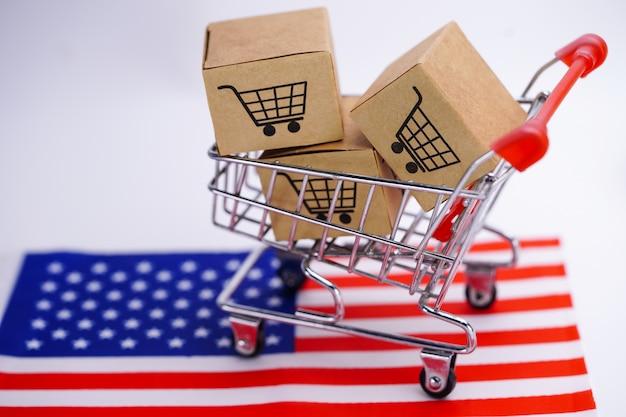 Caixa com logotipo de carrinho de compras e a bandeira da américa eua Foto Premium