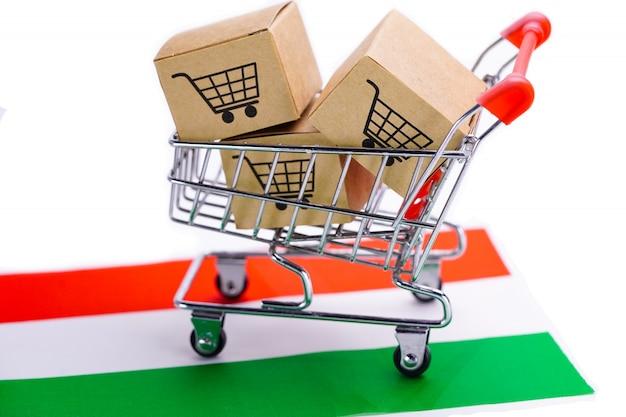 Caixa com logotipo de carrinho de compras na bandeira da hungria Foto Premium