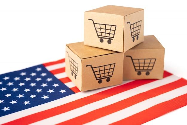 Caixa com logotipo do carrinho de compras e bandeira da américa eua. Foto Premium