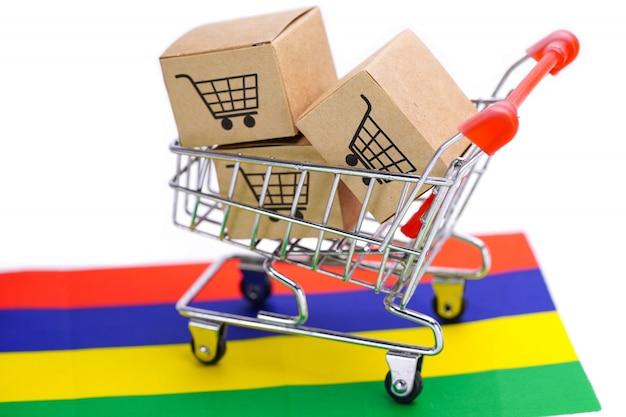 Caixa com logotipo do carrinho de compras e bandeira da maurícia. Foto Premium