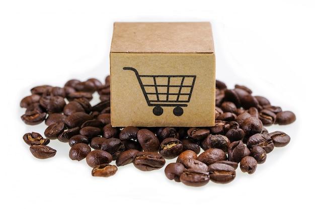 Caixa com símbolo de logotipo de carrinho de compras em grãos de café Foto Premium
