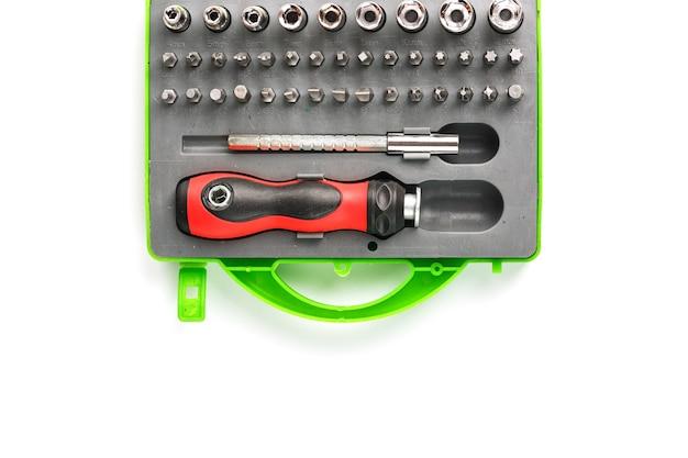 Caixa de ferramentas com acessórios e bits de diferentes formas e tamanhos Foto Premium