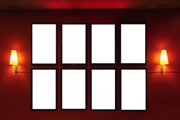 Caixa de luz de cinema de cinema filme ou lightbox de cinema de quadro de exibição ou outdoors com espaço em branco branco Foto Premium