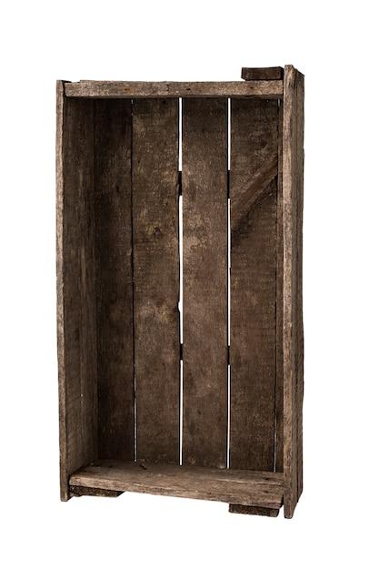 Caixa de madeira isolada no branco Foto Premium