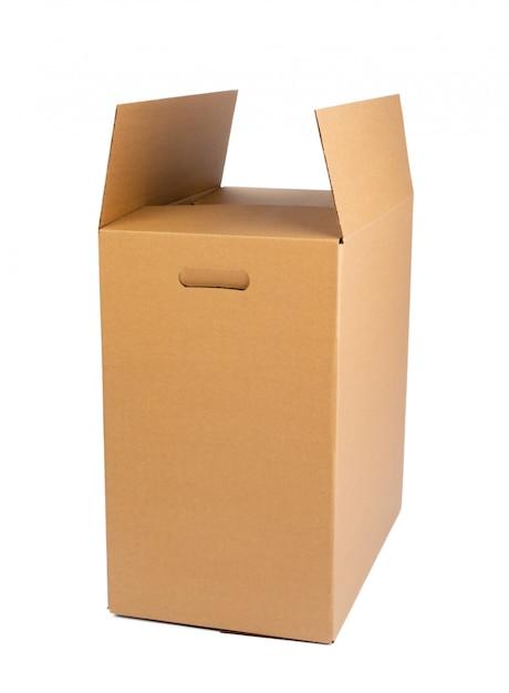 Caixa de papelão marrom isolada Foto Premium