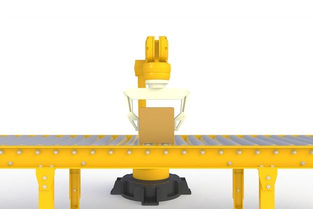 Caixa de papelão vazia na linha amarela do transporte isolada em um fundo branco Foto Premium