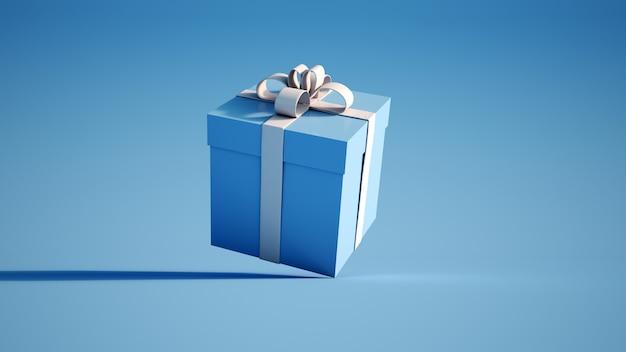 Caixa de presente azul e branca Foto Premium
