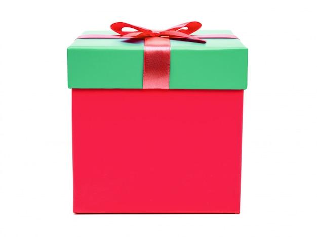 Caixa de presente com laço de fita. presente de feriado Foto Premium