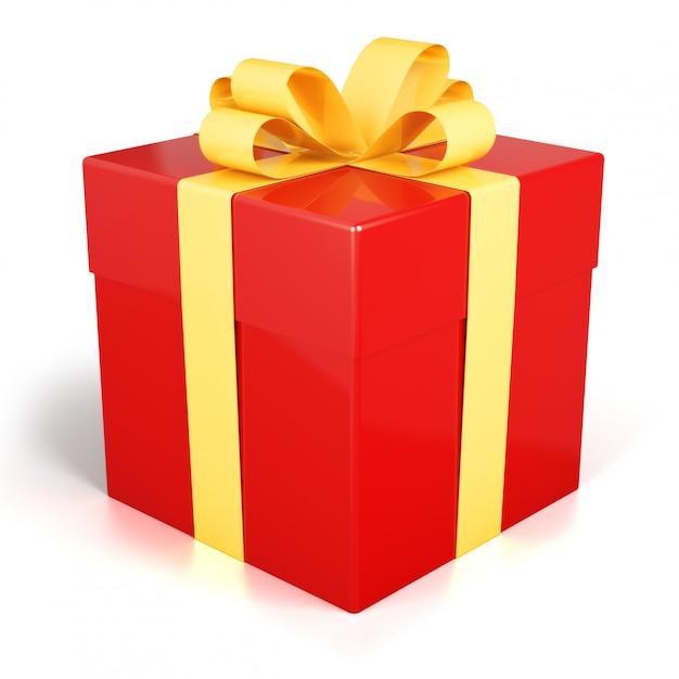 Caixa de presente vermelha presente com fita dourada isolada Foto Premium