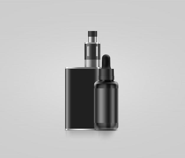 Caixa de vape em branco preto mod com garrafa de suco isolada Foto Premium