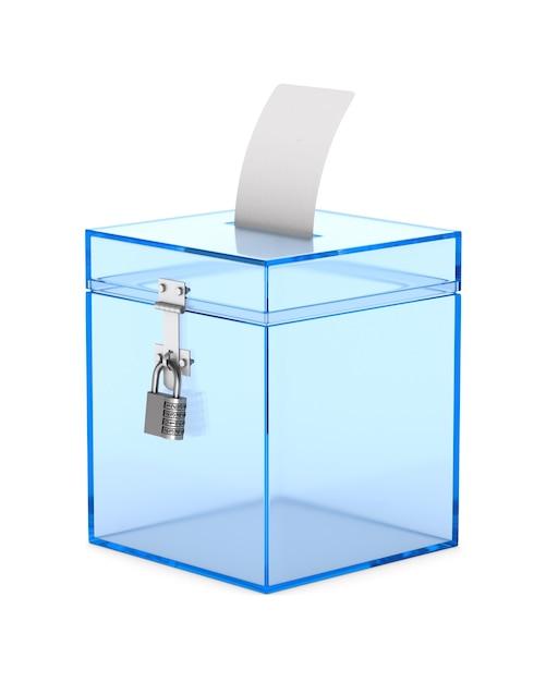 Caixa de votação transparente. renderização 3d isolada Foto Premium