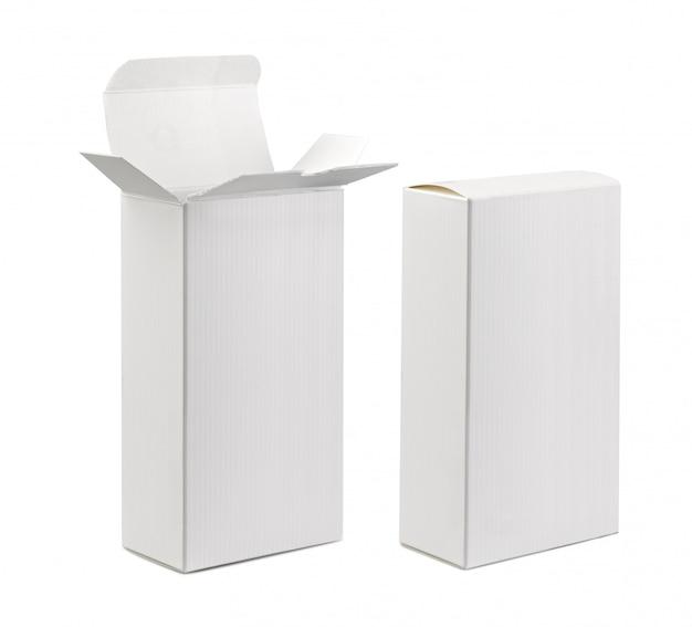 Caixa em branco aberto e fechado. Foto Premium