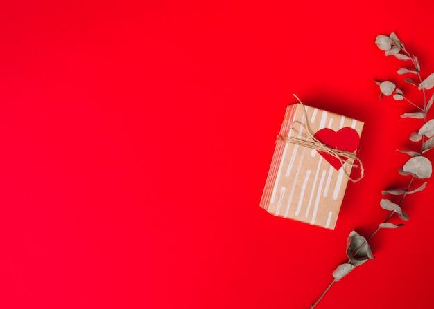 Caixa presente, em, sweetie, papel, com, fio, perto, ramo Foto gratuita