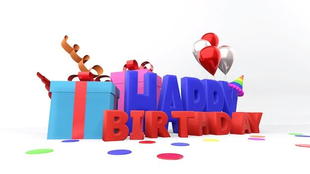 Caixas de presente coloridas e texto de feliz aniversário Foto Premium