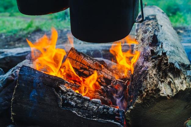 Caldeirão e chaleira acima da fogueira. culinária de comida na natureza. jantar ao ar livre. lenha e galhos em chamas. descanso ativo. acampar na floresta. Foto Premium
