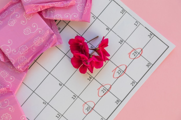Calendário com flores e toalhas sanitárias Foto gratuita