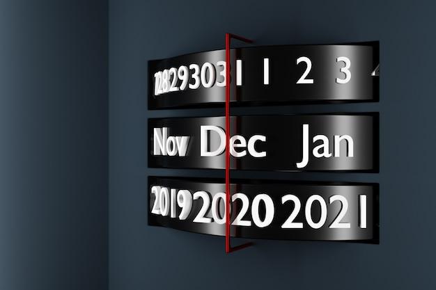 Calendário de listra preta de ilustração 3d com 12 meses, 31 dias e 2021 anos em fundo branco. Foto Premium