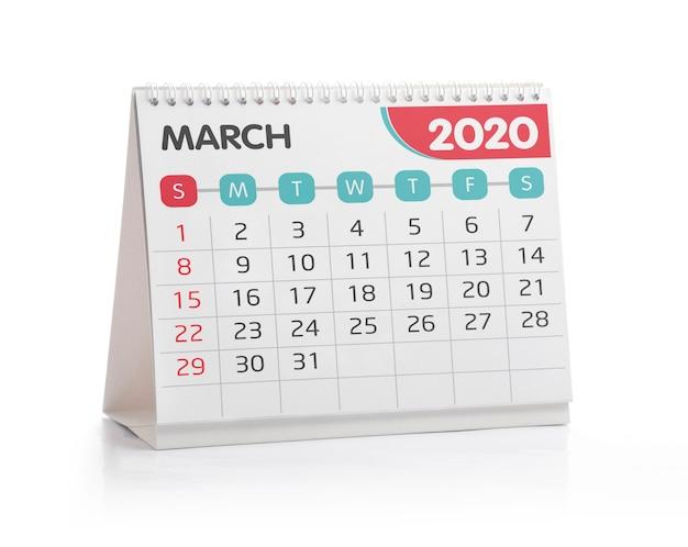 Calendário de março de 2020 Foto Premium