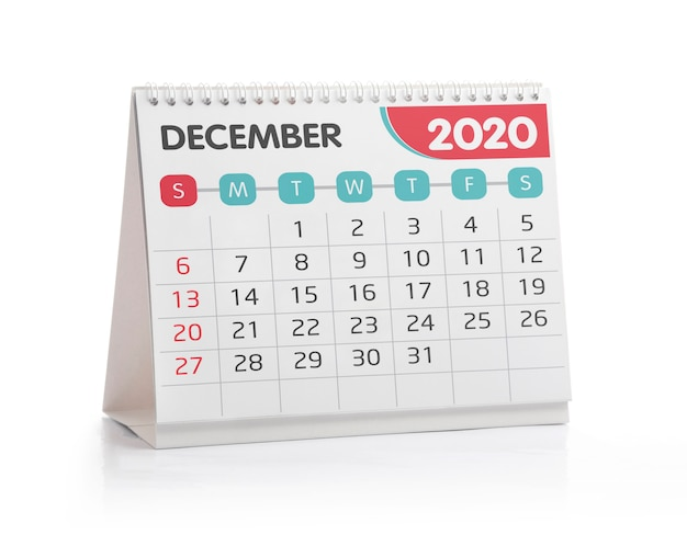 Calendário do escritório de dezembro de 2020 Foto Premium