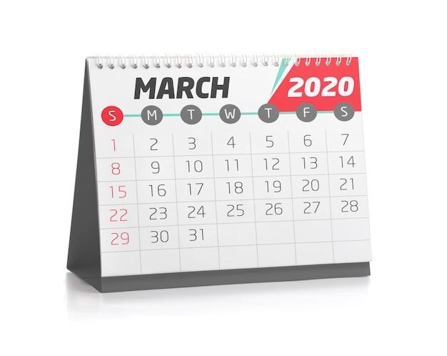 Calendário do office em março de 2020 Foto Premium