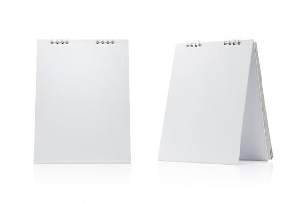 Calendário em branco isolado no fundo branco. Foto Premium