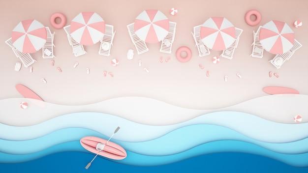 Cama de praia e água jogar equipamentos na praia Foto Premium