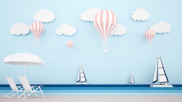 Cama de praia na praia com veleiro no mar e balões no céu Foto Premium