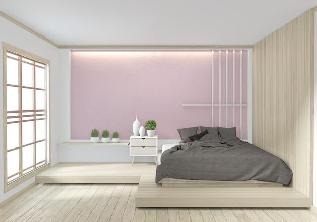 Cama quarto cor rosa japonês design de interiores Foto Premium