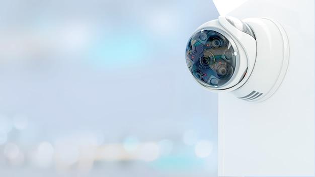 Câmera de cftv de segurança moderna com sensor de movimento. conceito de vigilância e segurança, renderização em 3d. Foto Premium